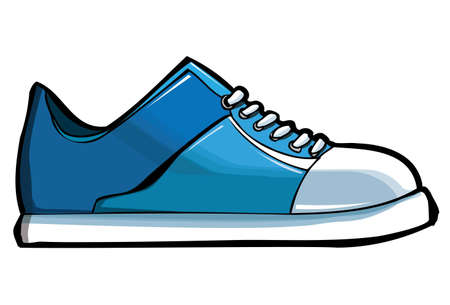 shoes fashion: Blue sneaker or trainer. Isolated on white Illustration