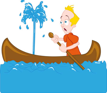 dugout: Cartoon of man in a sinking canoe. Isolated Illustration
