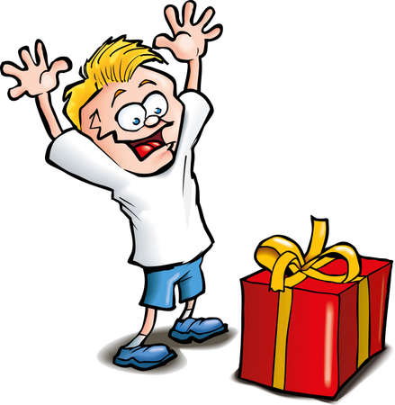 Cartoon of Excited kid receiving a gift. Isolated on white Vector