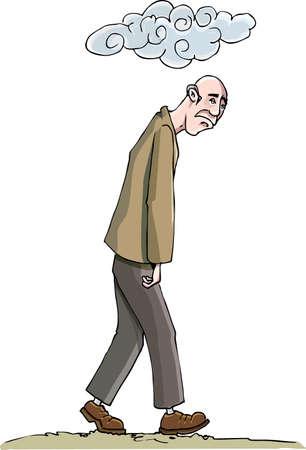 Hombre de dibujos animados o hundido en la depresión. Una nube en la cabeza. Aislado