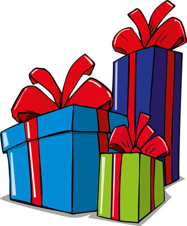 public celebratory event: Cartoon illustration of christmas gifts. Isolated on white