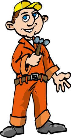 Bricoleur de dessin animé avec un marteau. Isolé sur fond blanc