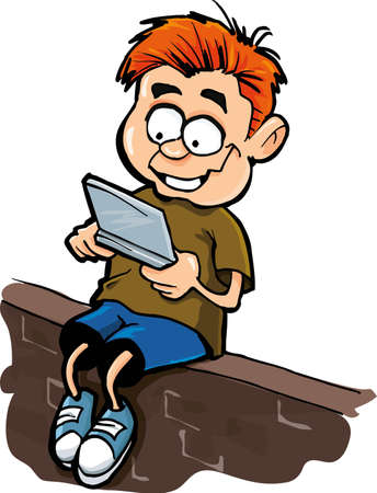 Cartoon of boy playing a hand held computer gamer.Isolated on white Vector