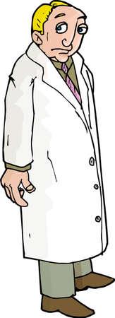 Cartoon of Sad lab man. Isolated on white Vector