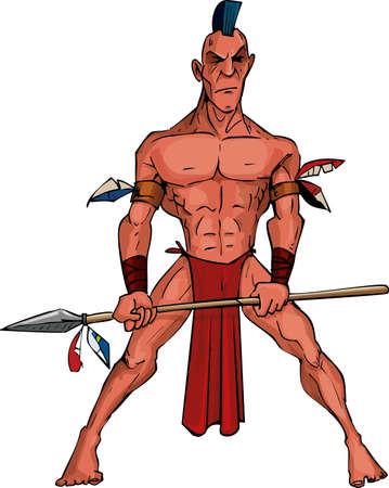 Cartoon Mohawk krijger met een speer. Geïsoleerd op wit