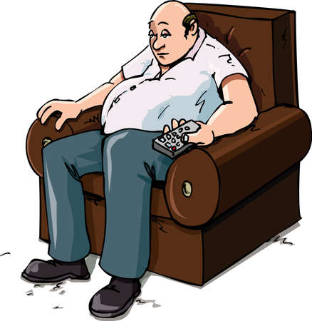 couch: Cartoon of a Couch Potatoe on a chair. Isolated on white Illustration