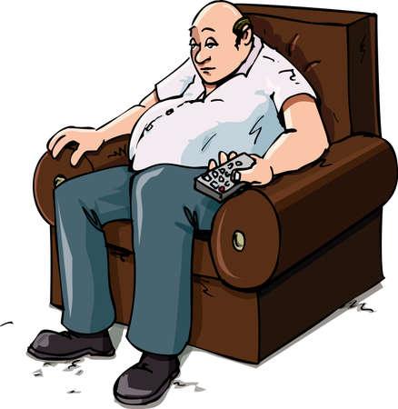 Cartoon von einer Couch Potatoe auf einem Stuhl. Isolated on white