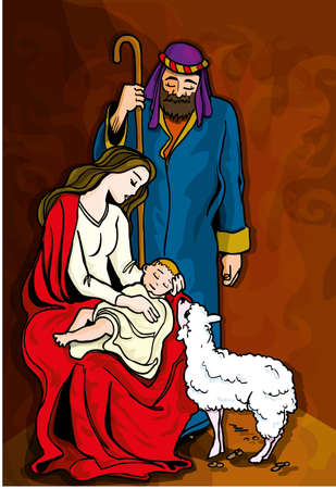 Beautiful Nativity Illustration. Mary, Joseph, baby Jesus and sheep Stock Vector - 9701564