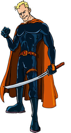 Cartoon Ninja superhero with a sword. Isolated Stock Vector - 9701556