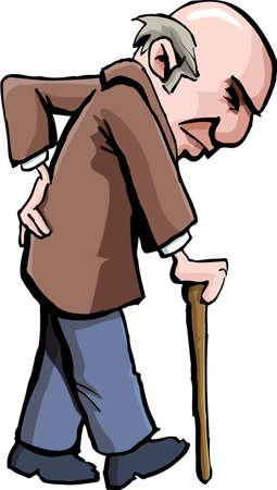 anciano: Caricatura de hombre con un bastón. Aislados en blanco