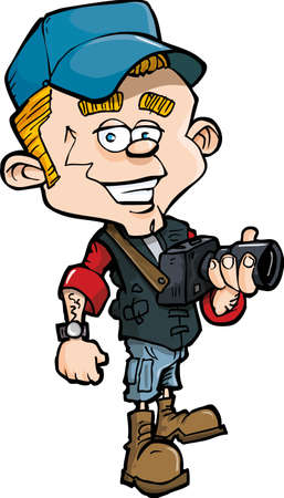 Cartoon photo journalist with a camera. Isolated on white