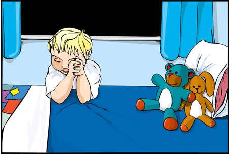 woman sleep: Boy Cartoon diciendo oraciones en su lecho con peluches alrededor de
