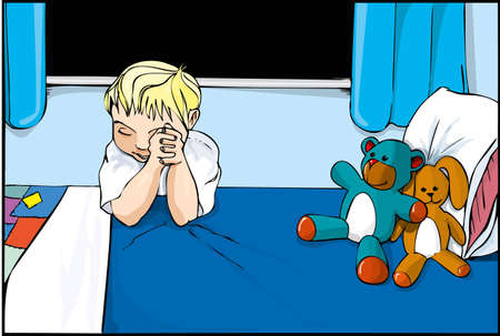 bedclothes: Cartoon boy saying prayers on his bed with stuffed toys around