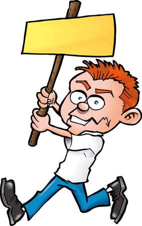 conflictos sociales: Hombre de dibujos animados con Junta de protesta en blanco. Aislados en blanco Vectores