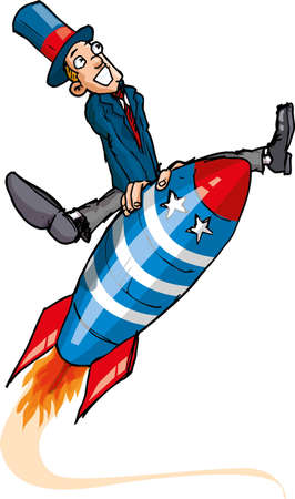 booster: Hombre de dibujos animados en un cohete volador. aislados en blanco