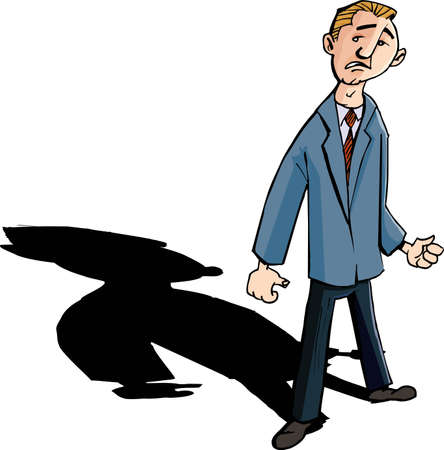 Cartoon of worried man with a shadow behind him. Isolated Vector
