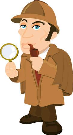 conquering adversity: Cartoon Sherlock Holmes con una lupa. aislados en blanco Vectores