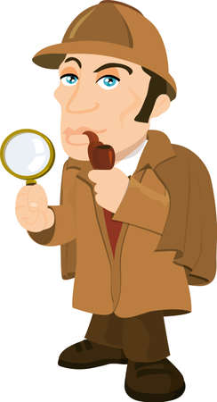 sherlock: Cartoon Sherlock Holmes with a magnifying glass. isolated on white