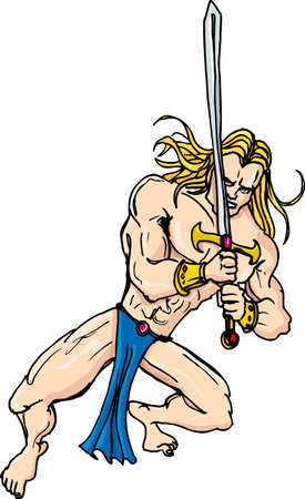 swordsman: Cartoon barbarian swordsman with blonde hair. Isolated