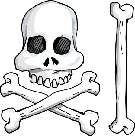 Illustration of skull and crossbones. Isolated on white Vector