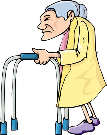 Cartoon old lady using awalking frame. Isolated on white Stock Vector - 9720306