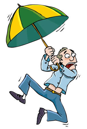 Cartoon man with an umbrellabeing whisked away by the wind Stock Vector - 9722226