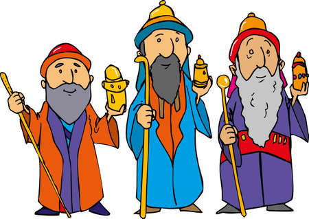 Cartoon of the three wise men with gold, frankincense and myrrh. Stock Vector - 9720304