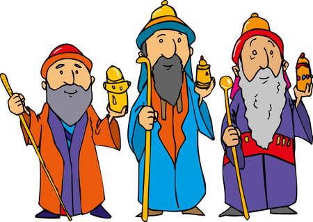 Dibujos animados de los tres Reyes Magos con oro, incienso y mirra.