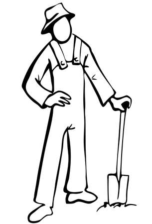 simplified: Simplified farmer illustration in black and white. Isolated Illustration