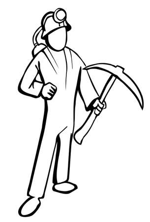 Simplified miner illustration in black and white. Isolated Vector
