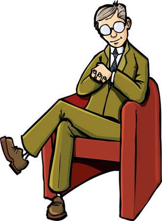 Psiquiatra de Cartoon sentado en su silla. Aislados en blanco
