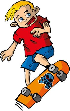 Cartoon of boy on a skateboard. isolated on white Vector