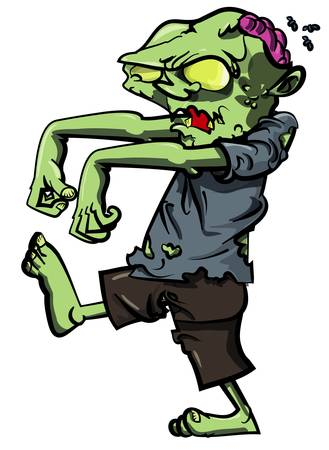 zombie cartoon: Cartoon stalking zombie with brain exposed. Isolated on white