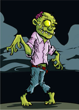 Cartoon zombie with cloudy night sky behind Vector