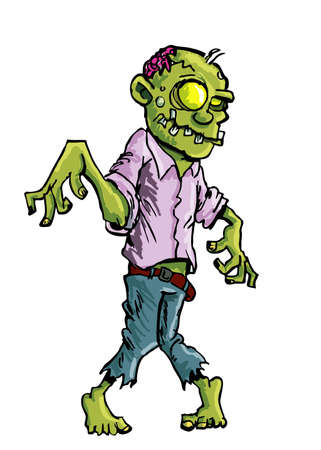 Cartoon zombie with brains exposed isolated on white Stock Vector - 9931442