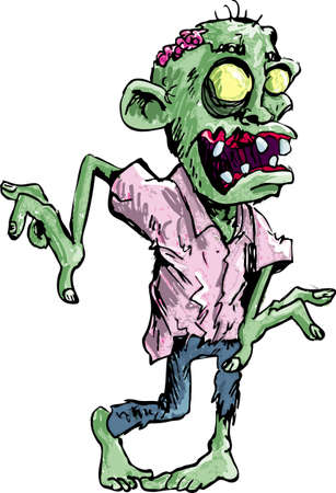 Cartoon zombie with brains exposed isolated on white Vector