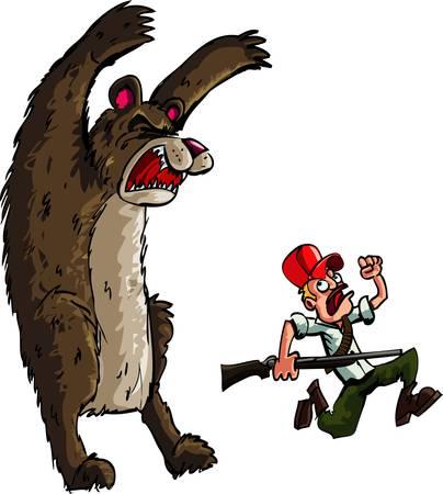 охотник: Охотник работает от злого медведя. Изолированные на белом Иллюстрация