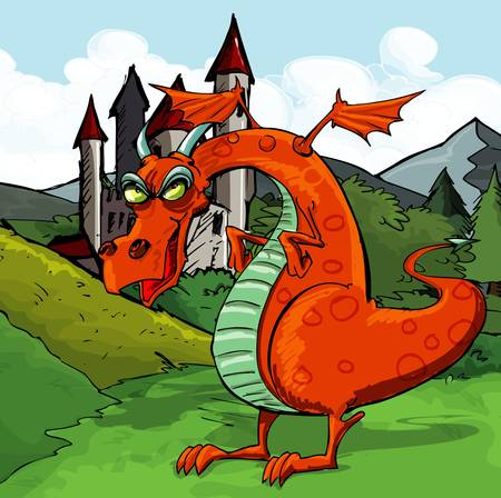 dragon cartoon: Cartoon of a evil red dragon in front of a castle Illustration