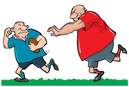 pelota de rugby: Caricaturas de jugadores de rugby. Aislados en blanco