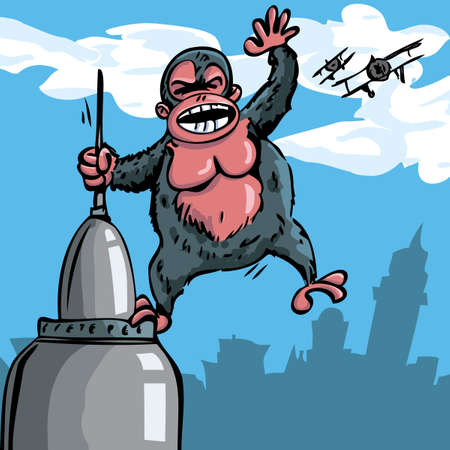 Cartoon King Kong hanging on a skyscraper. Biplanes in the sky behind Vector