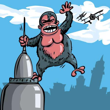 built tower: Dibujos animados King Kong colgando de un rascacielos. Biplanos en el cielo detr�s