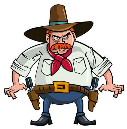 mano pistola: Cowboy grasso cartoon pronto a disegnare. Isolato Vettoriali