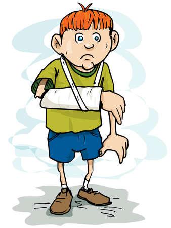 draagdoek: Cartoon jongen met een gebroken arm. Geà ¯ soleerd op wit