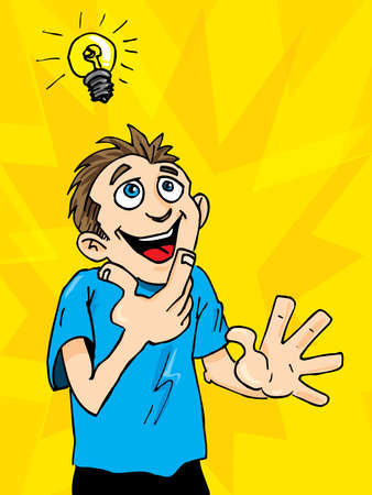 achievement clip art: Cartoon man gets a bright idea. A light bulb above his head