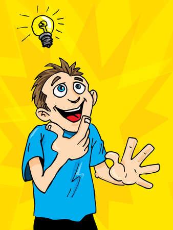 id�e lumineuse: Homme de dessin anim� obtient une id�e brillante. Une ampoule au-dessus de sa t�te.