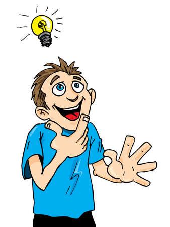 Cartoon man krijgt een lumineus idee. Een gloeilamp boven zijn hoofd