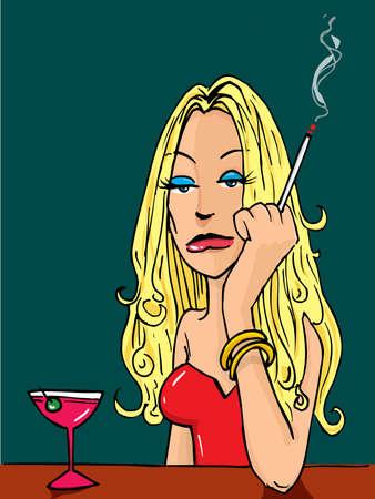 Sexy Cartoon woman smoking at the bar Stock Vector - 10365773