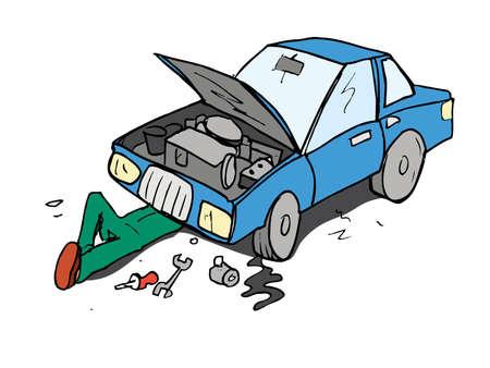 mekanik: Tecknad film av mekaniker arbetar på en bil. Isolerade på vitt