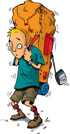 zaino: Cartone animato di un escursionista con uno zaino molto pesante. Isolato su bianco