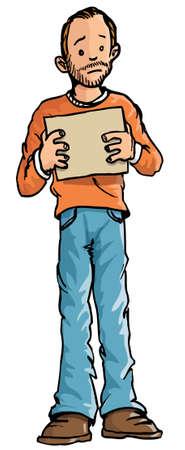 pobres: Beggear de dibujos animados sosteniendo un cartel en blanco. Aislado en blanco
